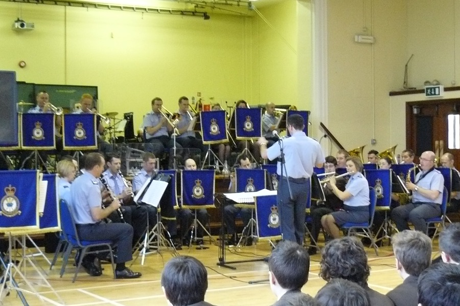 Royal Air Force musicians land on Lower Campus