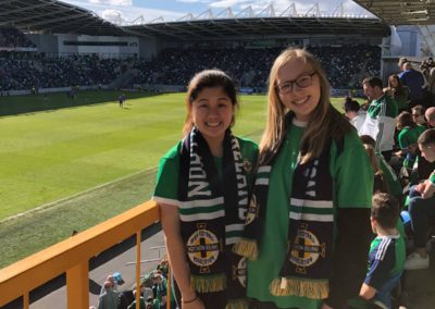 Angie Lam attends her first Northern Ireland Football Match with her school friend Rachel Millar