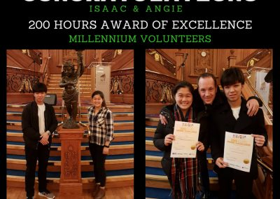 Angie and Isaac receive their 200 hours award of Excellence from Millennium Volunteers